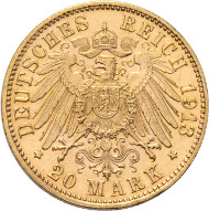 Rheingold Collection. Bavaria. Otto, 1886-1913. 20 mark 1913 D. J. 200. Extremely rare. Better than uncirculated. Franquinet certificate. Starting price: 8'000.- CHF.