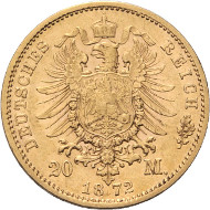 Rheingold Collection. Saxe-Coburg-Gotha. Ernest II, 1844-1893. 20 mark 1872 E. J. 270. Extremely rare. Good very fine. Schobner and Franquinet certificate. Starting price: 15'000.- CHF