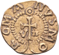 Merovingians. County of Vaud. Valais, Saint-Maurice. Mint master Romanus. Triens (time of King Dagobert I, 629-639). Planchet error. Extremely rare. Very fine. Starting price: 1'000.- CHF.