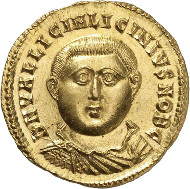 Lot 9099: LICINIUS II (317-324). Aureus, 321/322, Nicomedia. RIC 42. Very rare. Extremely fine. Estimate: 60,000,- euros. Hammer price: 77,500,- euros.
