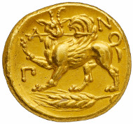 Lot 31: PANTICAPAEUM (Black Sea Region). Gold stater, around 360-350 B. C. Anohin 91. From the collection of Grand Duke Alexander Mikhailovich and the J. W. Garrett Collection. Extremely fine. Estimate: 150,000,- CHF.