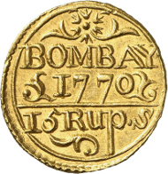 Lot 310: INDIA. Presidency of Bombay. Mohur worth 15 rupees AH 1184 (1770), Bombay. KM 183. Ex NGSA 4 (2006), 698. Extremely rare. Extremely fine. Estimate: 125,000,- CHF.