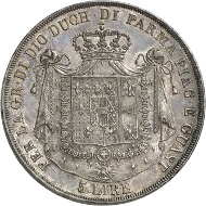 Lot 522: ITALY. Marie-Louise of Austria. 5 lire 1821, Milan. Mont. 116. Ex Sternberg 1984, 739. The rarest coin of the Napoleonic era. Extremely fine. Estimate: 150,000,- CHF.