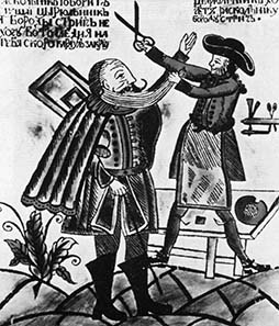 An official of Peter the Great shaves the beard of a boyar.