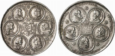 HRE. Matthias, 1608-1612-1619. Silver medal 1613. Medal depicting medallions with eleven emperors. From auction sale Künker 138 (2008), 6014.