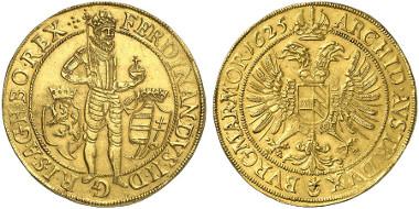 Bohemia. Ferdinand II, 1592-1618-1637. 10 ducats 1625, Prague. From auction sale Künker 239 (2013), 5648.
