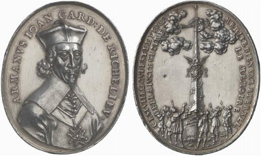 France. Oval-shaped silver medal n. y. (1642) by S. Dadler on the death of Cardinal de Richelieu. From auction sale Künker 131 (2007), 4069.