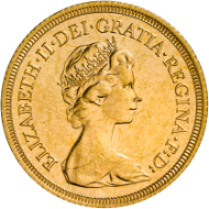 The Machin Portrait on a 1974 Sovereign.