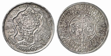 Silver medal 1610, by Chr. Maler, on the seizure of the city of Jülich. Weygand Coll. 1428. From auction sale Künker 116 (2007), 4548.