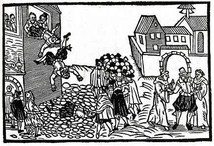 The (Second) Defenestration of Prague illustrated in a contemporary pamphlet, 1618. Source: Wikicommons.