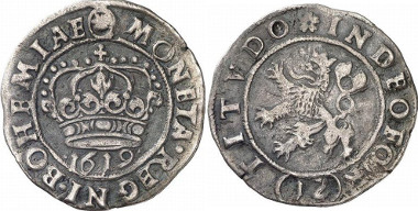 The estates of Bohemia and Moravia, 1619-1620. 12 kreuzer 1619. Kuttenberg Mint. Crown of St. Wenceslas. / Bohemian lion l. Herinek 18. From auction sale Gorny & Mosch 161 (2007), 5116.