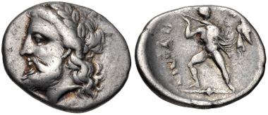 Lot 55: THESSALY, Ainianes. Circa 350s-340s BC. Hemidrachm (16mm, 2.75 g, 6h). Hypata mint. Liampi, Beitrag Group I; BCD Thessaly II 27 var. From the BCD Collection. VF. Estimate: $150.