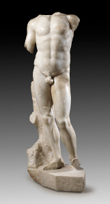1A: Torso of a male god or hero. Roman copy of a Greek model. Finely crystalline, white marble. Height (without plinth): 94.7 cm. From a German private collection, prior to that at Gordian Weber, Cologne; ex Christie's New York December 12, 2002, 233; prior to that part of private collections, first in Switzerland, then in Germany. Estimate: 150,000 euros.