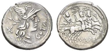 M. Aurelius Cotta 140 BC. Denarius circa 140 BC., 18mm., 3.98g. Crawford 229/1. Very fine. Starting bid: £150.