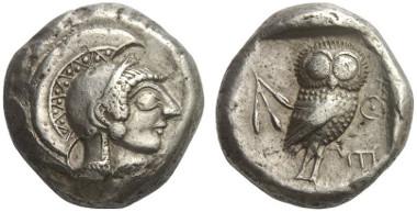 Lot 180: ATTICA. Athens. Tetradrachm, 546-527. Seltman A128/P147. Extremely rare. Extremely fine. Estimate: 25,000,- euros.