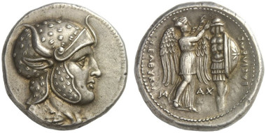 Lot 264: SELEUCIDS. Seleucus I, 312-281. Tetradrachm, 305-295, Susa. Newell ESM 417 and 420. Extremely fine. Estimate: 10,000,- euros.