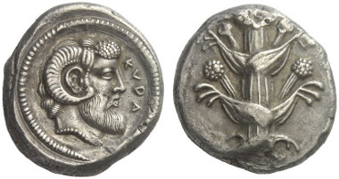 Lot 272: CYRENAICA. Cyrene. Tetradrachm, around 460. Kagan pl. IV/43 (rev. same dies). Very rare. Extremely fine. Estimate: 20,000,- euros.