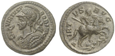 Lot 565: PROBUS, 276-282. Quinarius, Ticinium. King 11 (only two examples mentioned there). Extremely rare. Extremely fine. Estimate: 1,500,- euros.