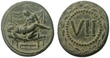 Lot 657: SPINTRIA. 1st cent. A. D. Buttrey cf. pl. 3 nr. 3, this type only with V and XIII. Extremely rare. Extremely fine. Estimate: 6,000,- euros.