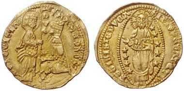 Lot 671: MAZARAKIS COLLECTION. Pera (Asia Minor). Filippo Maria Visconti, 1421-1436. Ducat n. y. Contemporary imitative coin following the example of a Venetian ducat. Mazarakis 10 (cf. p. 64). Very rare. Extremely fine. Estimate: 3,000,- euros.