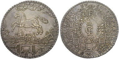 Lot 765: BRUNSWICK - LÜNEBURG - CELLE. Christian Ludwig, 1648-1665. Löser of 4 thaler, 1662, Clauthal. Dav. 172. From Dr. Ernst von Ferrari Collection. Extremely fine. Estimate: 6,000,- euros.