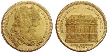 Lot 853: UNIVERSITAS IN NUMMIS COLLECTION. HRE. Maria Theresia, 1740-1780. 1 ¼ Ducat 1756 on the completion of the Vienna University building. Serfas 48. Very rare. About brilliant uncirculated. Estimate: 4,000,- euros.