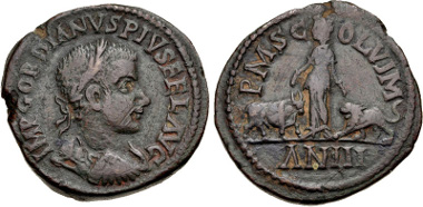Lot 242: MOESIA SUPERIOR, Viminacium. Gordian III. AD 238-244. (32mm, 18.72 g, 2h). Dated CY 3 (AD 241/2). H&J, Viminacium, 8; AMNG I 81; Varbanov 115. VF, brown patina, minor roughness. Estimate $100.
