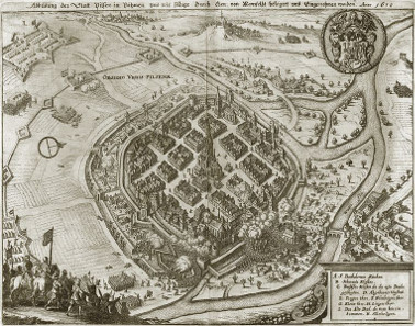 Matthäus Merian, seizure of the city of Pilsen by an army of the estates commanded by Mansfeld on 21 November 1618, prior to 1635. Source: Wikicommons.