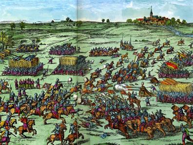 Abraham Hogenberg, Battle of Sablat, 1619. Hogenbergsche Geschichtsblätter, around 1630. Source: Wikicommons.