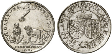 Bohemia and Moravia. Friedrich V, Elector Palatine. Silver medal, 1619. On Frederick being crowned King of Bohemia. Doneb. 2029. From auction sale Künker 228 (2013), 3407.