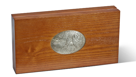 Wooden collector case with minted shield.