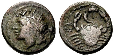 A second coin of the Brettii, (Scheu, Bronze Coins of the Brettii, No. 33), also ca. 208-205 B.C. where the (male?) Deity wears a crown of reeds.