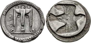 Lot 332: BRUTTIUM, Kroton. Circa 480-430 BC. AR Nomos (22.5mm, 8.03 g, 10h). Gorini 27 var. (legend on right); Attianese 55 var. (ethnic not retrograde); HN Italy 2108; SNG ANS 288 (same dies): SNG Lloyd 599; Basel -; Dewing -; Gulbenkian -. From the collection of the MoneyMuseum, Zurich. Ex Leu 76 (27 October 1999), lot 19. EF, attractive even dark gray toning, minor flan flaw on obverse. Fine style, well centered and struck. Estimated at $5,000.