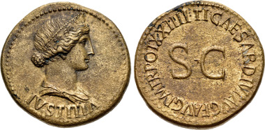 Lot 1008: Tiberius. AD 14-37. Æ Dupondius (29mm, 14.75 g, 12h). Rome mint. Struck AD 22-23. RIC I 46 (Tiberius); BMCRE 79-80 (Tiberius); BN 57-61 (Tiberius); AdG p. 39 (this coin). From the collection of the MoneyMuseum, Zurich. Ex Numismatica Ars Classica 15 (18 May 1999), lot 279. EF, lovely Tiber patina, minor surface roughness, traces of deposits. Fine style portrait. Estimated at $10,000.