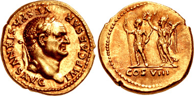 Lot 1048: Vespasian. AD 69-79. AV Aureus (19mm, 7.35 g, 6h). Rome mint. Struck AD 77-78. RIC II 935; Calicó 624-624a; BMCRE 204; BN 181-2; Biaggi 317; AdG p. 35 (this coin). From the collection of the MoneyMuseum, Zurich. Ex Leu 72 (12 May 1998), lot 423. Superb EF, attractively toned. Estimated at $20,000.