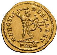 Maximianus. 286-305 AD. Aureus, 5.54g. (h). Rome, 294 AD. Calico 4662 (same dies). Cf. Cohen 255 (Hercules standing left, 300 Fr.). Mint State. Estimate: US$40000.