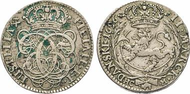 Los 476: Christian V., 1670-1699. 2 Marck Danske 1696 HC-M, Kongsberg. Hede 74 (RR). Sieg 35. ABH 206 (XR).