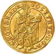 Josef I. GOLD Dukat 1710. Rufpreis: 9.000 Euro, Verkaufspreis: 31.720 Euro.