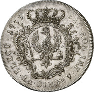 Lot 34: HORN COLLECTION - PRUSSIA. Frederick II. Speciesthaler 1755, without mintmark, Berlin. Kluge 318. Extremely rare. First strike, about brilliant uncirculated. Estimate: 40,000,- euros.