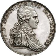 Nr. 183: SAMMLUNG HORN - SACHSEN. Friedrich August III. (I.). Doppelter Konventionstaler 1780, Dresden, zur Belohnung des Fleißes. Dav. 2694. Nur 20 Exemplare geprägt. Erstabschlag, Stempelglanz. Taxe: 20.000,- Euro.