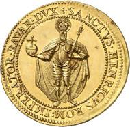 Nr. 266: ALTDEUTSCHLAND - BAYERN. Maximilian I. 8 Dukaten 1598, München, auf seine Huldigung. Witt. 775 Anm. Sehr selten. Vorzüglich. Taxe: 50.000,- Euro.