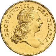 Nr. 600: GROSSBRITANNIEN. George III. 5 Guineas 1773, London. Probe mit glattem Rand. Äußerst selten. Vorzüglich. Taxe: 100.000,- Euro.