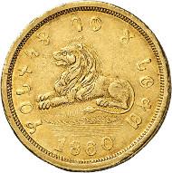 Nr. 815: USA. Utah. 5 Dollars 1860. Ausgegeben von The Mormons, Salt Lake City. Fb. 59. Sehr selten. Sehr schön bis vorzüglich. Taxe: 35.000,- Euro.
