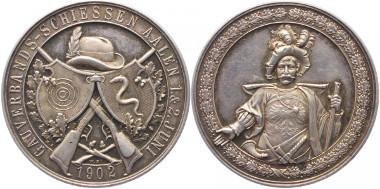 Schützenmedaille Aalen. Medaille 1902 a. d. Gau-Verbandsschiessen. Slg. Peltzer-, Slg. Wurster-, Slg. Schlossberger-, Kaiser-. 39,3mm. Vorzüglich. 300 Euro.