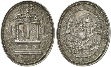 Medal on the Confoederatio Bohemica. The crown of the alliance rests on the five countries Hungary, Bohemia, Moravia, Silesia and Lusatia, which are all depicted as columns. Rev. The different religious parties, separated by the Word of God. From auction sale Gorny & Mosch 213 (2013), 4029.