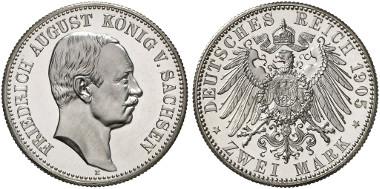 Sachsen. Friedrich August III. 2 Mark, 1905. J. 267. Aus Auktion Künker 256 (2014), 7761.