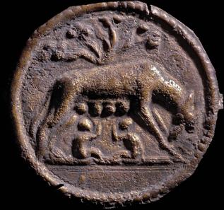Lupa Romana. Bronzeplakette Römische Wölfin, 2./3. Jh. n. Chr. Rheinisches Landesmuseum Trier, © Th. Zühmer; Rheinisches Landesmuseum Trier.