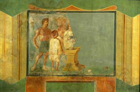 Wandmalerei mit Stieropfer. Trier, Palastgarten, 2. Jh. n. Chr. Rheinisches Landesmuseum Trier, © Th. Zühmer; Rheinisches Landesmuseum Trier.