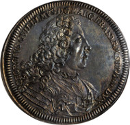 Very Rare Brandenburg-Bayreuth Taler, 1712-PPW SR. Dav-2031; KM-131. NGC MS-64. Beautiful and classic design. Estimate: $9,000.00 - $12,000.00.
