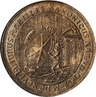 Well Struck and Lustrous Saxony Albertine Line Taler, 1696-IK. Dav-7653; KM-675; Schnee-987. NGC MS-64. Very Rare, struck to commemorate the birth of the Prince-Elector. Complex city view design. Estimate: $7,000.00 - $10,000.00